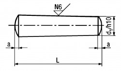 DIN1 h10 Taper Pin - product drawing - L=Length, a= chamfer length, d1=dia.