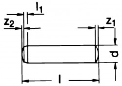 DIN6325 Dowel Pin - product drawing - l=OAL, d=dia., z1/z2=crown length, l1=point length