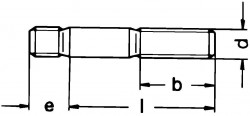 DIN939 Double end Stud - product drawing - L+e=overall length, b=nut end thread length, d=dia