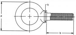B18.15 Shoulder Type Inch Lifting Eye Bolt - product drawing - b=shank length, k= shoulder width, d=eye OD