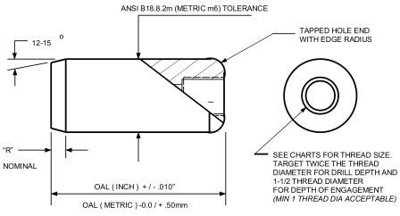 Inch Pull Dowel Pin P340 - product drawing - specifications