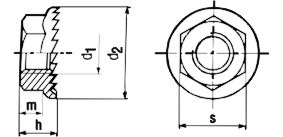 JIS B1190 Hex Flange Nut - product drawing - d1=ID, d2=Flange dia., m=thickness, h=height(incl. flange)
