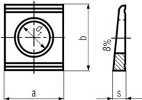 DIN435 Square Taper Washer - product drawing - a&b=width, d1=ID, s= clipped width