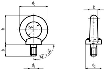 DIN582 Lifting Eye Nut - Product drawing - d1=shank dia., b=shank length, h=height(excl. shank),d4=eye ID, d2=eye OD.