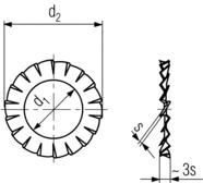 DIN6798A internal serrated washer - product drawing - d1=ID, d2=OD, s=thickness