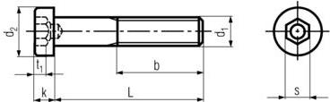 DIN6912 Low Head Socket Cap Screw - product drawing - b=thread length, L=shank length, k=head height, d1=dia