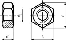 DIN6915 Structural Nut - product drawing - d1=ID, m=thickness, s=width A/F, e=width A/C