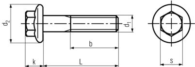 DIN6921 Hex Flange Bolt - product drawing - L=shank length, d1=dia.,d2=flange dia.,k= head height
