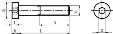 DIN7984 Low Head Socket Cap Screw - product drawing - L=shank length, b=thread length, d1=shank dia.,k=head height,d2=head dia.,t=socket depth