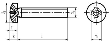 DIN7985 Phillips Pan Head Machine Screw - product drawing - L=shank length, d1=shank dia.,k=head height,d2=head dia.,t=philips depth