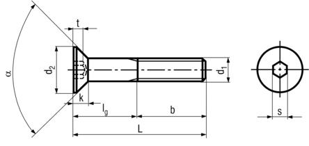 DIN7991 Flat Head Socket Cap Screw - product drawing - L=length(including head),b=thread length,d1= shank dia.,k=head height, d2=head dia.,t=socket depth, s=socket width across flat, a=angle