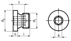 DIN908 Hex Socket Screw Plug - product drawing - d1=dia.,i=length(excl. head),c=head height, s=hex socket dia A/F,t=socket depth