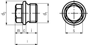 DIN910 Hex Head Pipe Plug - product drawing - d1=dia.,i=lenght(excl. head),l=OAL