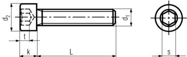 DIN912 Socket Head Cap Screw - product drawing -L=shank length, d1=dia.,