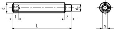 DIN915 Socket Set Screw Dog Point - product drawing -L=length, d1=dia,d2=point dia., 1=point length