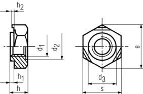 DIN929 Hex Weld Nut - product drawing - d1=ID, H=overall height