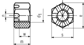 DIN935 Castle Hex Nut - product drawing - d1=id, m=height
