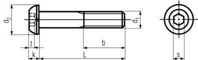 ISO7380 Socket Button Head Cap Screw - product drawing - L=shank length, b=thread length,d1=shank dia.,k=head height, t=socket depth,d2=head dia.,s=socket width across flat