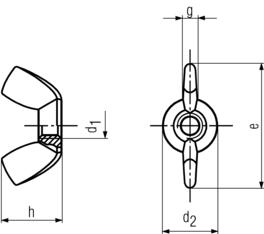 Wing Nut American Style - product drawing - d1=dia., d2=OD, e=width (wing tip to tip),g=wing thickness, h=nut height