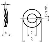 DIN128A Curved Spring Lock Washer - product drawing - d1=ID, d2=OD, h= depth, s=thickness