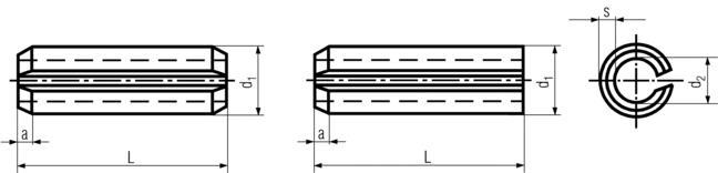 DIN1481 Heavy Duty Spring Pin (Rolled) - Product Drawing - L=OAL, d1=ID, d2=OD,s=thickness