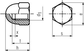 DIN1587 Hex Acorn Nut (Dome Nut) - Product Drawing - h=height,d1=ID,s=waf,e=wac