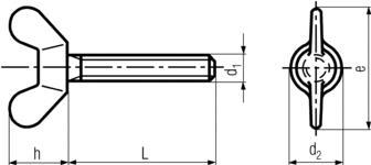 DIN316 Wing Screws-product drawing-L=length,d1=shank dia.,h=wing height,e=wing breadth,d2=head dia.