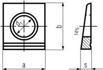 DIN435 Square Beveled Washers 14%-product drawing-d1=hole dia.,a=width 1,b=width2, s=thickness