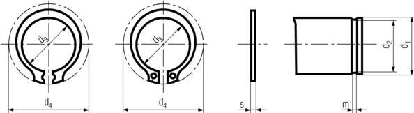 DIN471 External Retaining Ring - product drawing - d3=ID, d4=OD, s=thickness, d2=groove dia.,s=shaft dia.,m=groove width
