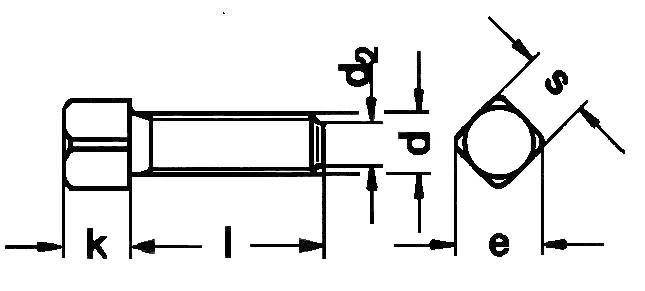DIN479 Square Head Bolt with Short Dog Point - product drawing - l=shank length, d=dia., d2=point dia., k=head height