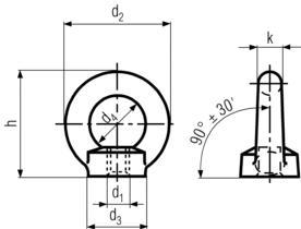 DIN582 Lifting Eye Nut - product drawing - d1=ID (thread), d3=OD, d4=Eye ID, d2=Eye OD,h=height,