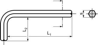 DIN911 Hexagon Key - product drawing - L1=long arm length, L2=short arm length, s=dia.,