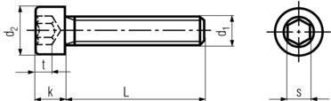 DIN912 Socket Cap Screw - Product drawing - L=shank length, d1=shank dia.,k=head height, d2=head dia,s=socket dia.,t=socket depth