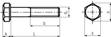 DIN931 Hex Head Bolt Part Thread - product drawing - L=shank length, b=thread length, d1=dia.,k=head height,s=waf,e=wac