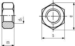 DIN934 Hex Nut - Product drawing - m=height,d1=dia.,s=waf,e=wac