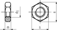 DIN936 Hex Jam Nut - product drawing - m=height,d1=dia,s=waf,e=wac