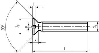 DIN963 Slotted Flat Head Machine Screw - product drawing - L=OAL,d1=dia.,d2=head dia.,t=slot depth, n=slot width, k=head height