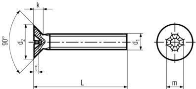 Flat Head Phillips Machine Screw-product drawing - L=OAL,d1=dia,d2=head dia.,k=HH,t=phillips depth