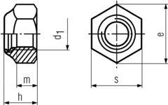 DIN985 Nylon Insert Lock Nut - product drawing - d1=ID, h=overall height, m=thread depth, s=waf,e=wac