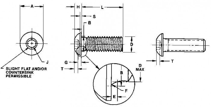 ISO7380 Socket Button Head Cap Screw - Product Drawing - L=Length (excluding the head),D=Thread Dia.,T=Socket Depth,H=Head Height.