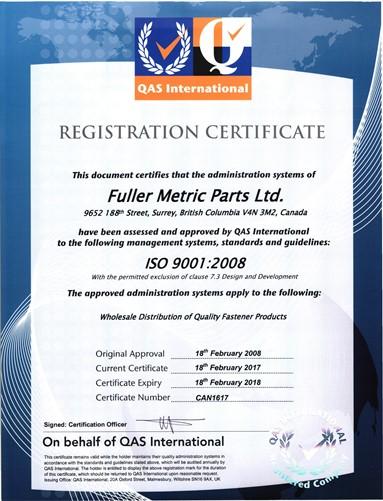 Fuller Metric Parts Ltd. - 2017 ISO Registration Certificate