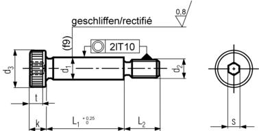ISO7379 Socket Head Shoulder Screw - Technical Drawing - L1+L2=OAL, d2=Thread Dia., d1=Shank Dia., k= Head Height