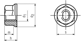 DIN6927 Hex Flange Nut - Product drawing - d1=ID, d2=OD, h=total height, m=hex height